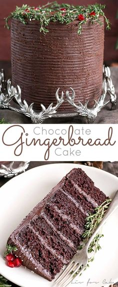 This Chocolate Gingerbread Cake is a delicious twist on a holiday classic. A rich chocolate spice cake paired with a silky dark chocolate ganache. | livforcake.com