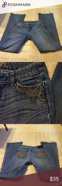 Express Bootcut size 2 Jeans Express jeans Size 2 Bootcut! Lots of detail on these jeans! Gently worn! Express Jeans Boot Cut