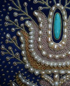 Fragment of Panel 'My Fatherland' embroidered in the technique of golden ornamental embroidery, detail 1 - Art Kaleidoscope Bullion Embroidery, Pearl Embroidery, Tambour Embroidery, Embroidery Fabric, Embroidery Patterns, Lesage, Fabric Beads, Gold Work, Bead Crochet