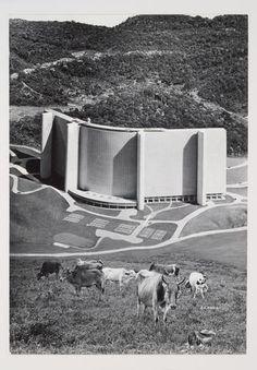 photo by Rafael Landau — View of model for Quitandinha Hotel and Apartment Block at Petrópolis, Rio de Janeiro, Brazil, designed by Oscar Niemeyer, 1950