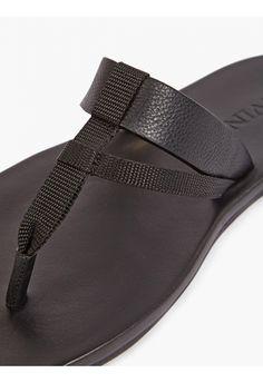 Lanvin Men's Black Leather Flip Flops