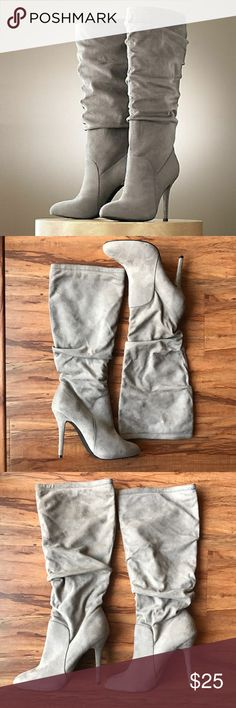 Jennifer Lopez Faux Suede Aubrey Scrunch Boots Beautiful Gray Faux Suede Boots by Jennifer Lopez for Kohls.  Size: 9 Retail: $109 Jennifer Lopez Shoes Heeled Boots