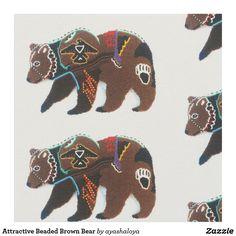 Shop Attractive Beaded Brown Bear Fabric created by ayashaloya. Native American Seed, Native American Patterns, Native American Beading, Seed Bead Patterns, Beading Patterns, Stitch Patterns, Wolf Stencil, Bear Signs, Native Beadwork