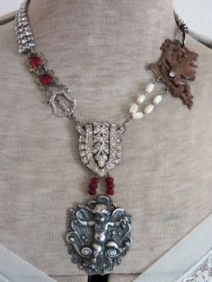 The French Circus: Cherubs, Saints and. a Moose? Old Jewelry, Jewelry Crafts, Jewelry Art, Antique Jewelry, Jewelery, Vintage Jewelry, Handmade Jewelry, Jewelry Design, Copper Jewelry