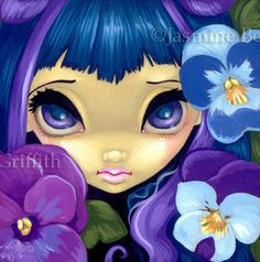 Fairy Face 84 Jasmine Becket Griffith Art Fantasy Flower Dryad Signed 6x6 Print | eBay