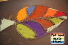 Pink and Green Mama: * Make Fall Leaves With Elmer's Glue and Chalk