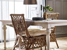 Wickerworks Aristocrate Dining Side Chair Natural Grey Rattan (set of Rattan Dining Chairs, Solid Wood Dining Chairs, Upholstered Dining Chairs, Dining Chair Set, Room Chairs, Side Chairs, Lounge Chairs, Dining Table, White Furniture