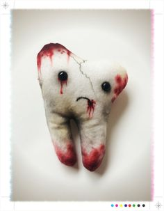 Bloody Tooth: handmade rotten tooth plush with by HelloKreepy