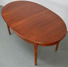 HUGE Johannes Andersen Uldum Danish Teak Extending Dining Table - Teak oval extending table