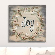 Bring a bit of cheer to your walls with our Joy Jingle Bell Wreath Canvas Art Print. It features a lean Christmas wreath with star-studded jingle bell details! Gold Christmas Decorations, Christmas Signs Wood, Burlap Christmas, Diy Christmas Tree, Christmas In July, Holiday Decor, Christmas Paintings On Canvas, Christmas Towels, Diy Weihnachten