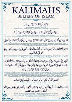 Kalimahs Beliefs of Islam White by Islamic Posters.you are not GOD (i am saying this to all of GOD'S creation) i am not GOD, enough ameen. Duaa Islam, Islam Hadith, Allah Islam, Islam Quran, Alhamdulillah, Quran In Arabic, Quran Surah, Islam Muslim, Bonheur