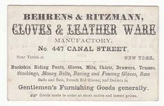 1860's 70's Trade Card for Behrens Ritzmann Gloves & Leather Ware | eBay
