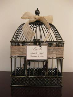bird cage with burlap
