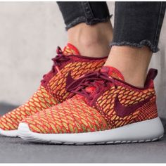 {Nike} Roshe Flyknit Women's size 9.5. Color: Orange, red, yellow, white.... Brand new, never been worn. I'll pack them in a designer box to keep them safe. ❗️Price is firm, even when bundled ❗️   ❌ No Trades/ No PayPal  ❌ No Lowballing  ✅ Bundle Discounts ✅ Ship Same or Next Day  % Authentic Nike Shoes