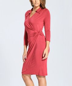 Another great find on #zulily! Sangria Collared Surplice Dress - Women by Amelia #zulilyfinds