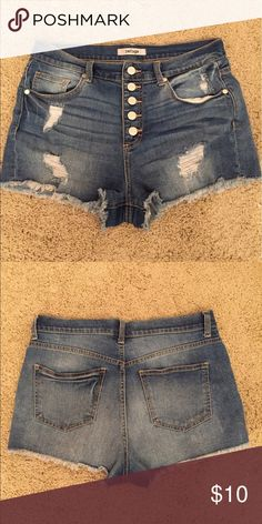 Refuge Hi-Rise Cheeky Destroyed Denim Shorts Great condition (lightly worn), bought from Charlotte Russe, machine wash/tumble dry. refuge Shorts Jean Shorts