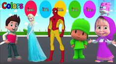 Colors for Children to Learn with Ryder Paw Patrol, Spiderman, Elsa, Mas...