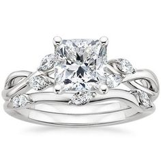 """18K White Gold Willow Diamond Ring: .51 ct center cushion, diamond color: F, symmetry 1:1, SI2, Cut: VG, $2,825 - By far my most favorite setting, its lower and doesn't look quite as awkwardly """"high"""" Cushion diamonds should be set low as they are not a tall cut, it just looks better! I also like how unique the band is, and the matching wedding band!!! <3 <3 - DREAM wedding band, not a reality :/ good to have an idea of what I really like though"""