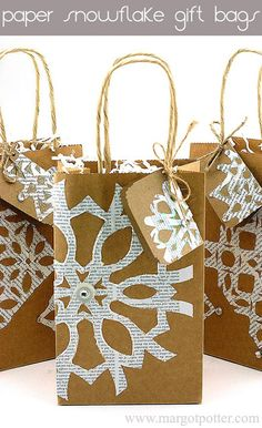 DIY Paper Snowflakes Embellished Gift Bags