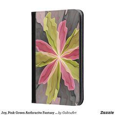 Joy, Pink Green Anthracite Fantasy Flower Fractal iPad Mini Case