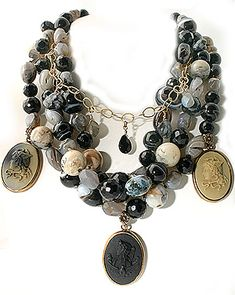 Extasia Necklace [NN61] A 3 German glass cameo necklace on multi-strands of Agate, Opal, Onyx and Labradorite Mix. Cameo images are from Gre...