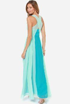 Blue V Neck Sleeveless Chiffon Full Length Dress - Sheinside.com