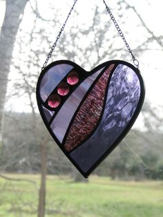 Stained Glass Heart Suncatcher Purple and por BrightMoonDesigns