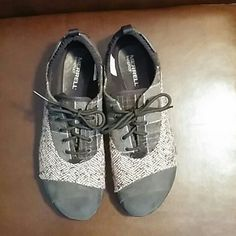 Merrell Barefoot Sneakers 2 Tone Plaid and velvety soft Leather upper with Vibram soles. Worn once. In like new condition. Merrell Shoes Sneakers