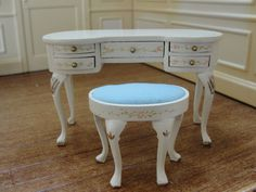 Dollhouse Miniature White Vanity Table & Stool w Floral Trim  by Bespaq