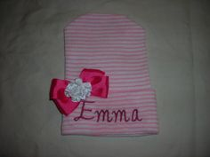 Personalized Embroidered Newborn Hospital Beanie in Pink and White Stripe with Bow by BFFMommy on Etsy