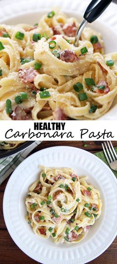 Healthy Carbonara Pasta - made with Creamy Cauliflower Sauce. Perfect healthy comfort food made in 15 minutes with only 5 ingredients