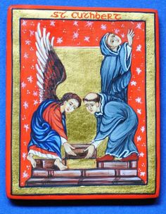 Icon of St. Cuthbert [St Cuthbert building his hermitage on the island of Farne, with the help of an angel]
