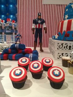 Captain America Birthday Party cupcakes!  See more party ideas at CatchMyParty.com!