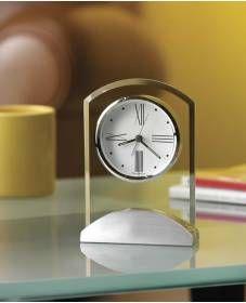 Beveled Gl Silver Base Quartz Alarm Clock 645397 Howard Miller