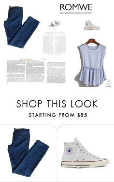 """""""ROMWE"""" by kmen-s ❤ liked on Polyvore featuring J Brand and Converse"""