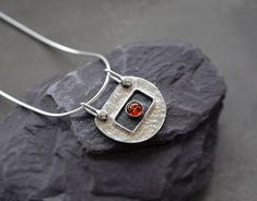 Sterling silver pendant with amber. Silver necklace. Amber