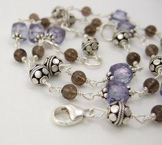 Necklace with Smokey Quartz Blue Mystic Quartz and by jewelrybyroz, $90.00