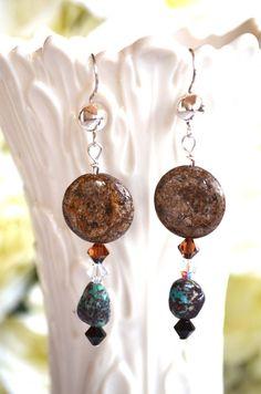 Earrings Handmade Brown Gemstone Western by HandbagsByDyana
