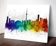 Toronto Skyline Canvas, Toronto Cityscape, Toronto Print, #toronto #decor #canada Doctors Office Decor, Toronto Skyline, Doctor Gifts, Graduation Gifts, Poster Prints, Canvas Prints, Canada, Illustration, Painting
