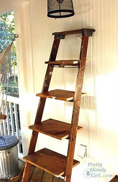 use an old ladder to make shelves. would look cute outside.