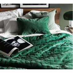Emerald Green Luxury Throw - French Bedroom Velvet Bedspread