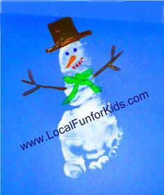 Super Cute Snowman Footprint Craft - Crafts & Activities for Kids - LocalFunForKids Best Blogs for Local Fun, Easy Recipes, Crafts & Motherhood
