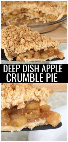 Deep Dish Apple Crumble Pie Recipe: Homemade and Easy to Make When you want an easy dessert recipe, why not go for America's favorite pie? This deep dish apple crumble pie is so easy and delicious! Deep Dish Pie Recipe, Deep Dish Apple Pie, Apple Crisp Pie, Pie Dish, Easy Pie Recipes, Apple Pie Recipes, Apple Pies, Fall Recipes, Apple Crumble Recipe Easy