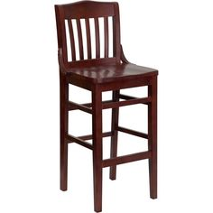 Offex Hercules Series Mahogany Finished School House Back Wooden Restaurant Bar Stool (Mahogany), Brown