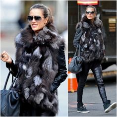 Only Alessandra Ambrosio can pull this look off. Sneakers with a fur vest ♥