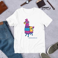 This Gotta Have It All llama pinata gaming short sleeve t-shirt is everything you've dreamed of and more. It feels soft and lightweight. Men's Shirts And Tops, Tee Shirts, T Shirts For Women, Clothes For Women, Pinata Game, New Years Outfit, Online Shopping Clothes, Workout Tops, Kids Outfits