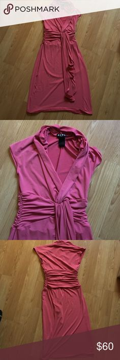 BCBG Paris Pink Dress Beautiful pink dress from BCBG Paris. Simple yet elegant collar and tie. Cute summer or spring dress but would look equally as fashionable with boots. Small pen mark in the front, could probably wash it out. Make me an offer. BCBG Dresses Midi
