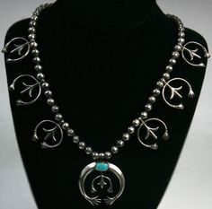 Squash Blossom Necklaces - Navajo Turquoise and Silver Sandcast Squash Blossom Necklace