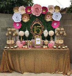 Adorable pink and gold dessert table by paper flower backdrops cake stands and cupcake stands by amalfi decor Quince Decorations, Quinceanera Decorations, Party Table Decorations, Quinceanera Party, Birthday Decorations, Flower Decorations, 15th Birthday Party Ideas, Table Party, Pink Dessert Tables