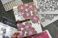 Nicole Wilson Independent Stampin' Up!® Demonstrator - Colour INKspiration 80 using Many Layered Blossoms Dies #stampinup #manylayeredblossoms #happybirthday #CI #CI80 #colourinkspiration #blossomsinbloom #blossoms #rococorose #crumbcake #purpleposy #nicolewilson #colourchallenge What Are Colours, Embossing Machine, Gold Gilding, Color Swatches, Card Stock, Embellishments, Stampin Up, Happy Birthday, Bloom